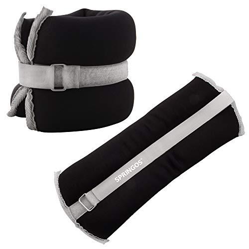 SPRINGOS Juego de pesas lastradas para tobillos y manos, neopreno, ajustables, 2 x 2 kg, color negro y gris