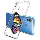 Suhctup Compatible con Samsung Galaxy A20E Funda de Transparente Silicona con Dibujos Mariposa Lindo Diseño Patrón Cárcasa Ultrafina Suave TPU Antigolpes Bumper Protección Caso-A8
