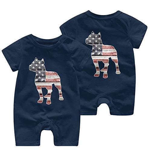 Mono de manga corta para bebé de 0 a 24 meses con la bandera estadounidense de Pitbull. 1 color 6 Meses
