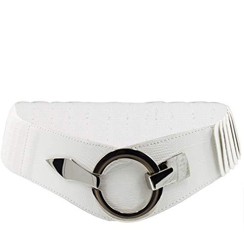 Glamexx24 Cinturón elástico para mujer, 6 cm de ancho, con anillo plateado.