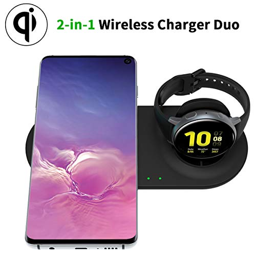 HATALKIN Qi-Certified Wireless Charger Compatible Samsung Galaxy Watch Charging Pad and Phone Charger, Compatible Galaxy Watch 42mm 46mm / Active / Active2 / Gear S3 / Airpods Pro& Galaxy Phone Series