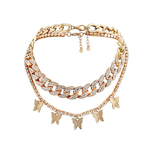 Nanafast Cuban Link Chain Butterfly Necklace Iced Out Zirconia Butterfly Pendent Hip Hop Choker Layered Necklace for Women Girls-Gold-cuban+tennis