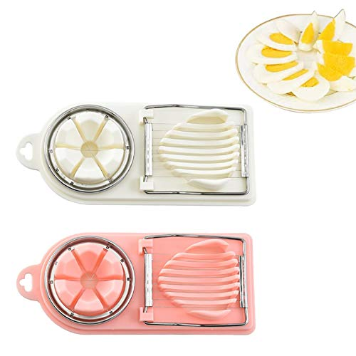Dzmuero Boiled Egg Slicer Cutter,2PCS Egg Slicer Cutter Metal 2 Way Egg Slicer and Wedger for Dual Egg Dicer Salad Slicer Multifunctional Stainless Steel Manual Egg Cutter Boiled Eggs Slicer Tool