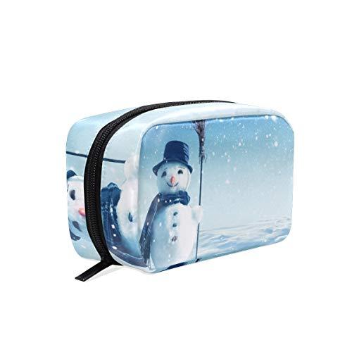 LUPINZ Mignon Bonhomme de neige Blanc Trousse de maquillage Cosmétique Sac pour Femme Fille