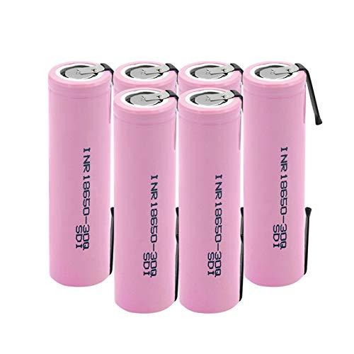 HTRN Batería De Inr18650 30q 3.7v 3000mah, Batería De Placa De níQuel Soldada con AutóGena De La Batería De Litio Recargable Usada para La Linterna 6PCS