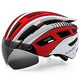 FUNWICT Casco Bicicleta Hombre Casco MTB con Gafas Magnéticas Extraíbles y Forro Interior Casco Bicicleta con Luz...
