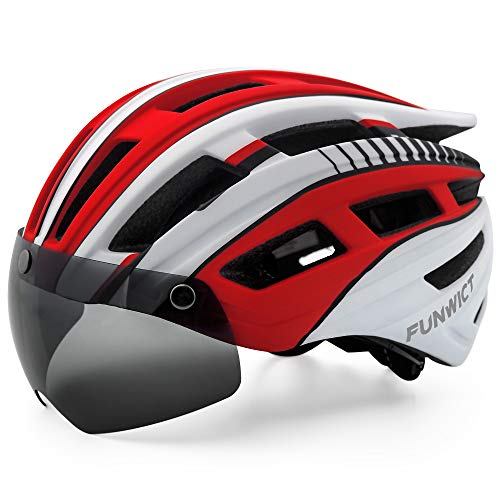 FUNWICT Adult Bike Helmet for Men Women with Led Light Detachable Magnetic Goggles Visor Mountain & Road Bicycle Helmet Breathable Lightweight Cycling Helmet (WhiteRed)