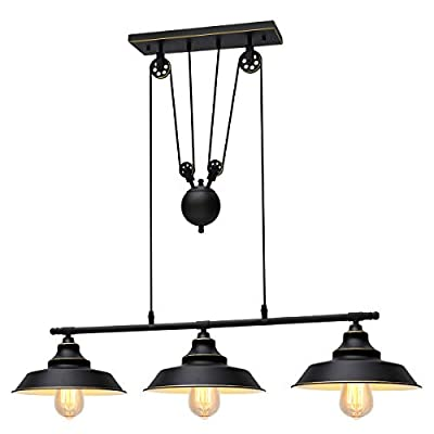 KingSo Three-Light Pulley Pendant Light, Kitchen Island Light Adjustable Industrial Rustic Chandelier Farmhouse Vintage Ceiling Lights Fixture for Kitchen Island Dining Room Foyer