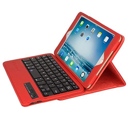 TECHGEAR STRIKE FOLIO Keyboard Case fits Apple iPad Mini Series - PU Leather Case with Detachable Bluetooth Wireless UK QWERTY Keyboard & Stand for iPad Mini 5, Mini 4, Mini 3, Mini 2 & Mini - Red