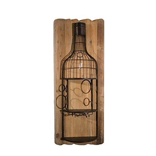 LSLS Estilo Industrial Creativo Hierro de Hierro Forjado Tercera de Pared Botella de Pared Colgante Colgante Bar Restaurante Decoración de la Pared estantería de Pared