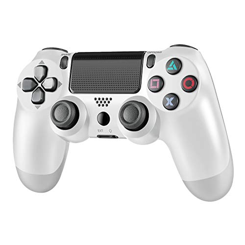 Wireless Controller for PS4, Tiiroy Gamepad Remote Joystick for Playstation 4/Pro/Slim Game Console with 1000mAh Rechargeable Battery, Double Vibration and Audio Function (White)