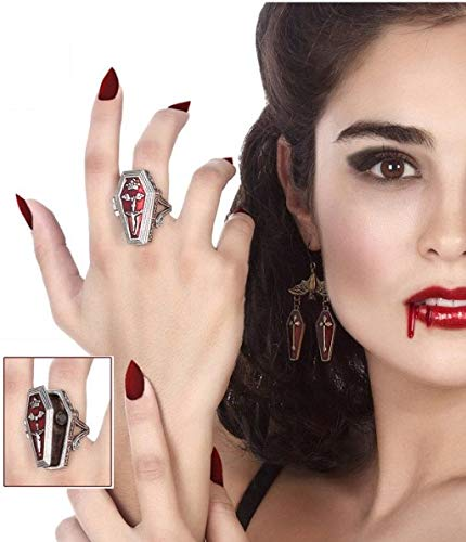Ladies Gothic Vampire Coffin Ring Halloween Fancy Dress Costume Outfit Jewellery Accessory
