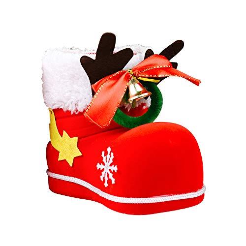 Kraeoke - Scarponi di Babbo Natale con peluche e velluto, da riempire