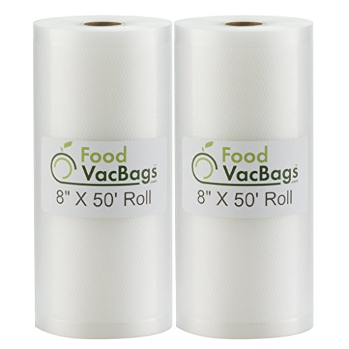Two 8' X 50' Rolls of FoodVacBags Vacuum Sealer Bags Commercial Grade for Foodsaver and all Vacuum Sealers