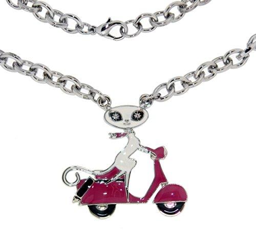 Halskette von French Kitty mit Motorroller fahrender Katzendame, platinbeschichtet.