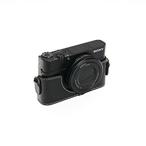 SONY ソニー RX100 II / III / �W/ �X用本革カメラケース ブラウン RX100M2 RX100M3 RX100M4 RX100M5 (カメラケース, ブラック)