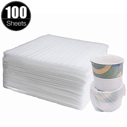 Espuma de Embalaje Plástico de Burbujas 100 Piezas Hojas Foam Sheet Envoltura de Espuma para Platos cartón platos vasos tazas(330 x 330 x 1 mm )