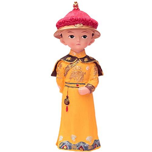 NONE Emperador Chino Estatuilla Resina Retro Rey Real Estatua Escultura Adorno de Escritorio Cake Topper para Sala de Estar Oficina Decoración de La Boda