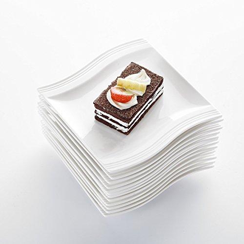 MALACASA, Serie Flora, 12 teilig Set Cremeweiß Porzellan Flachteller Speiseteller Essteller Teller je 5,5