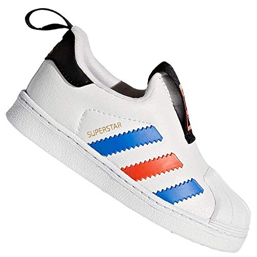 adidas Originals Superstar 360 Kinder Turnschuh Sneaker Slip On Weiß Rot Blau, Farbe:Weiß, Schuhgröße:EUR 23