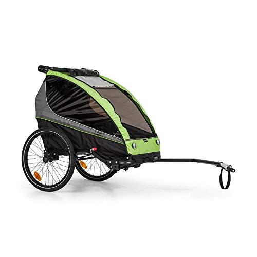 Klarfit Kiddy King - Remolque de Bicicleta para niños,2 plazas,Universal,Cinturón de 5 Puntos,2 Ruedas de 20', Freno de Mano, reflectores, banderines, Plegable, Asientos Acolchados, Verde