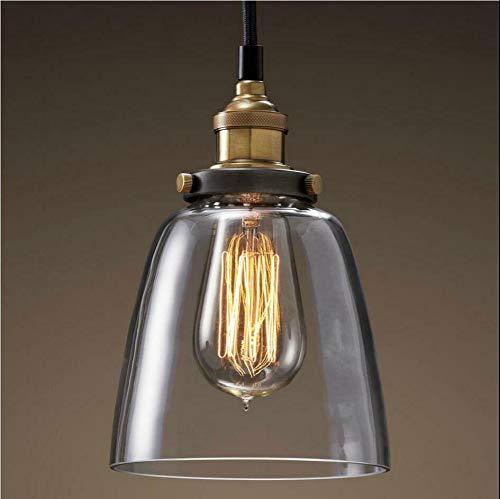 Fetcoi Lámpara colgante retro de cristal, 40 W, industrial, vintage, E27, lámpara de techo vintage