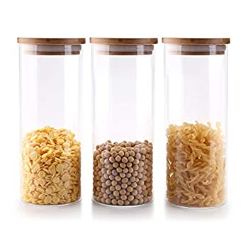 ComSaf Airtight Glass Storage Containers with Bamboo Lid  30oz Set of 3  Clear Food Storage Canisters with Lid Kitchen Pantry Storage Jar for Flour Cereal Sugar Tea Coffee Beans Snacks Round