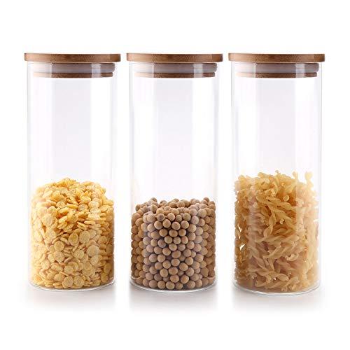 Comsaf 900ml Luftdichter Vorratsgläser mit deckel, 3er Set Aufbewahrungsglas Küche aus Borosilikatglas, Haushalt Glasbehälter Vorratdosen Set für Lebensmittel Spagetti Getreide Bohnen