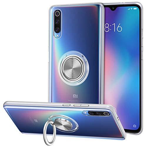 Vunake Xiaomi Mi 9 Hülle Transparent Dünn Silikon TPU Durchsichtig Hülle mit Ring Stand Arbeiten mit Magnetisch Autohalterung Schutzhülle Tasche Cover Handyhülle für Xiaomi Mi 9 Clear