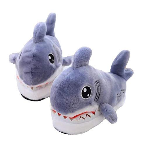 Zapatillas de Animales tiburón Cabeza algodón Antideslizante Zapatillas Cabeza Gruesa 3D Animales de algodón Felpa Zapatillas (Gris)