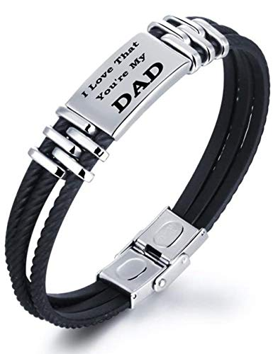Gkmamrg Hombre Pulsera con Grabado I Love That You 're my Dad Silicona Negro Acero Inoxidable Trenzado Brazo Maduro con Caja de Regalo para Dad Papa Père Regalo (I Love That You Are my Dad)
