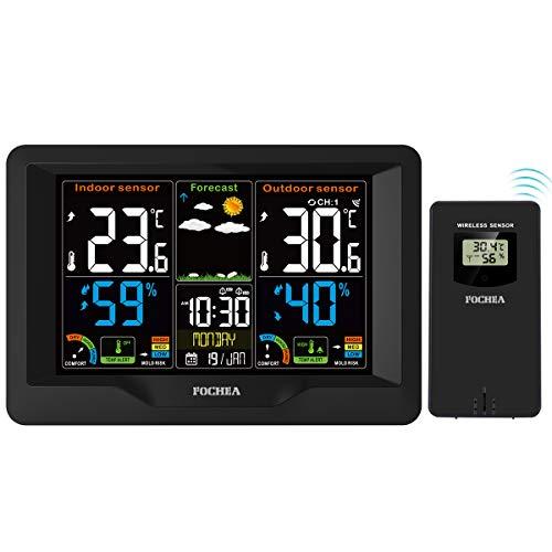 FOCHEA Wetterstation Funk mit Außensensor, Funk Wetterstation Digital-Thermometer Hygrometer mit Wettervorhersage, Alarm/Snooze, Feuchte- und Temperaturüberwachung für Auto Haus Büro Außen Innen