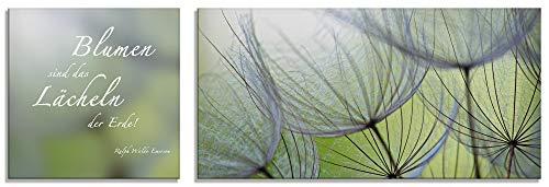 Artland Glasbilder Wandbild Glas Bild 2 teilig 50x50 / 100x50 cm Querformat Natur Blumen Blüten Pusteblumen Spruch Zitat S6PA