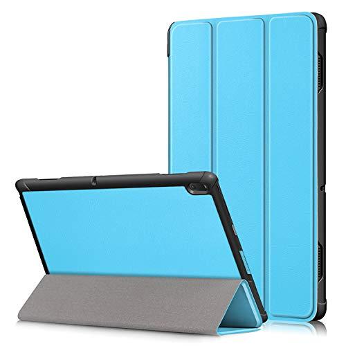 Shinyzone Tablet Hülle Kompatibel mit Lenovo Tab E10 10.1 Zoll TB-X104F,Leder Trifold Ständer Schutzhülle mit Auto Aufwachen/Schlaf,Magnetisch Befestigung mit Kantenschutz,Hellblau