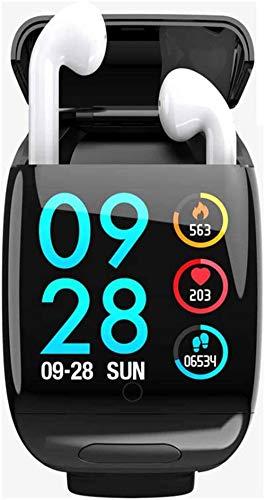 SNFHL Pulsera Inteligente con Auriculares Inalámbricos Bluetooth 2 en 1 con Auriculares Inalámbricos Bluetooth, Rastreador de Ejercicios,Black