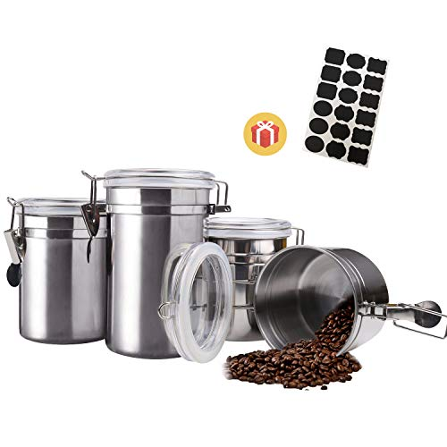 Airtight Canister Set Stainless SteelThickened Version4 Piece Food Storage Container with Lids for TeaCoffeeSnacksMilk PowderSugarFlour Canisters with Clear Lid Locking Clamp