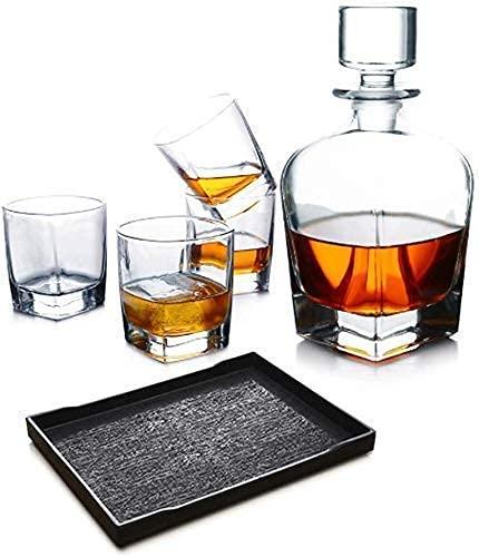 CYHT Whisky Decanter Set de Cristal Conjunto de Gafas Whisky Whiskey Botella con 4 Gafas Whisky con Gorra hermética, sin Soporte de Madera
