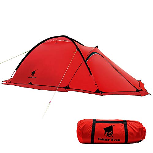 GEERTOP 4-season 2-person 20D Lightweight Backpacking Alpine Tent For Camping, Hiking, Climbing, Travel - With A Living Room (Red)