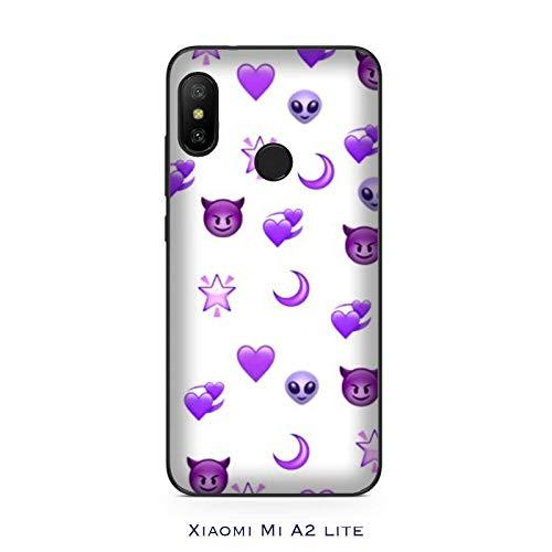 Funda Mi A2 lite Carcasa Xiaomi Mi A2 lite Whatsapp Emoticon pequeño diablo y corazones morados / Cubierta Imprimir también en los lados / Cover Antideslizante Antideslizante Antiarañazos Resistent