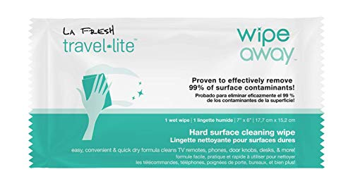 LA Fresh Wipe Away Hard Surface Cleaning Wipes Pack of 50 Individually Wrapped 7x6' Wipes Remove Up To 99.9% of Contaminants Use On Doorknobs, Table Tops, Phones, Desk, Perfect For Travel Or On The Go