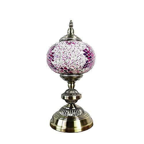 Lámpara de mesa de mesa turca de vidrio de mosaico Lámpara de mesita de noche, luces de noche de estilo de linterna marroquí con base de bronce para sala de estar, con bombilla LED incorporada-color