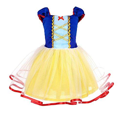 AmzBarley Blancanieve Disfraz Vestido Princesa Blancanieves Niña Tutu Ceremonia,Traje Niña,Disfraz Infantil Marga Corta Chica Blanca Nieves para Fiesta Carnaval Cosplay Halloween