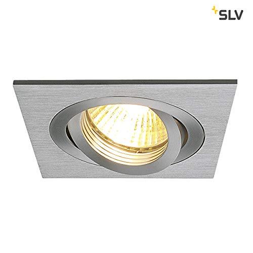 SLV LED Deckeneinbaustrahler NEW TRIA 78 I eckig, QPAR 51, GU10, single, einflammig, CS, Clipfeder, matt aluminium, Einbauleuchte, Deckenstrahler, dreh- und schwenkbare Deckeneinbauleuchte, Indoor
