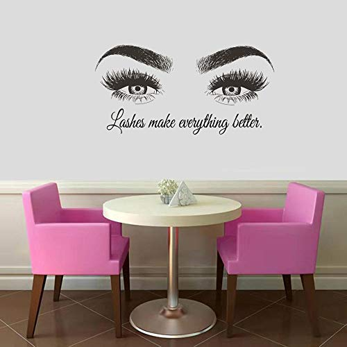 Wandtattoo Aufkleber Tapete 57X114cm Text Beauty Salon Augenbrauen Maky Up Extension Vinyl Wandplakate Lash Bar Decor