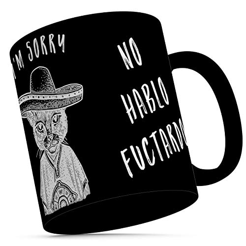 N\A Taza no Hablo fuctardo - Divertidas Tazas españolas con Gato Mexicano Bandito Gato en Sombrero - Taza de café Negro