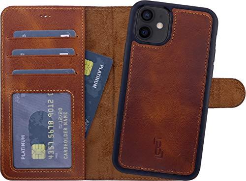 Burkley Handyhülle für iPhone 12 Mini Leder-Hülle mit Abnehmbarer Schutz-Hülle kompatibel mit Apple iPhone 12 Mini Hülle Cover - TÜV geprüfter RFID Schutz (Antik Sattelbraun)