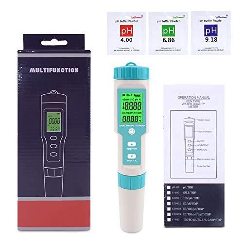 KKmoon Wasserqualitätstester 7 in 1 PH/TDS/EC/ORP/SG/Salzgehalt/Temperatur mit austauschbarer Elektrode PH-Messgerät für Trinkwasser/Schwimmbad/Aquarium/Pools mit Hintergrundbeleuchtung