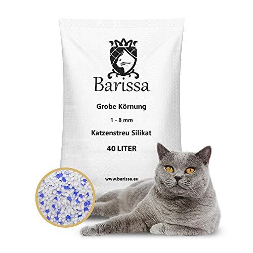 BARISSA Silikat Katzenstreu Grob 40 Liter = 15KG Katzenstreu Hygienestreu Silica Kristall Staubfrei Geruchsneutralisierend x 1 Stück