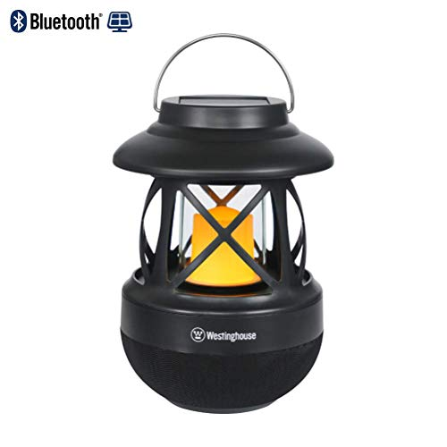 Westinghouse Intelligent 2-in-1 Solar Bluetooth Speaker LED Lanterns with Hook IPX4 Water Resistant Solar Lights Outdoor Wireless Flame Speakers USB Charging Candle Lamp for Garden Porch Outdoors & In
