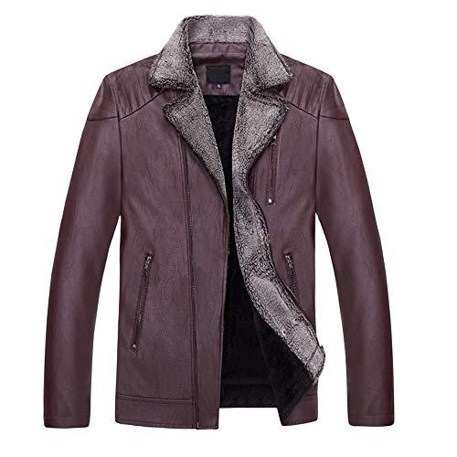 Aiserkly Herren Lederjacke Zweireiher Übergangsjacke Retro Winterjacke Bomberjacke Stehkragen Warm Mantel Outwear Top Coat WeinRot 3XL